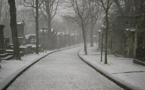Picture Paris, winter, morning, cemetery, under the snow, Père-Lachaise