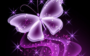 Picture butterfly, abstract, butterfly, glow, neon, purple, sparkle, neon
