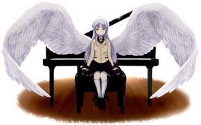 Picture wings, piano, angel beats!, angel beats