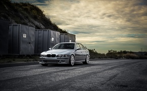 Picture road, blue, bmw, BMW, front view, blue, containers, e39