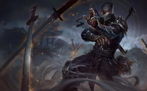 Wallpaper League of legends, art, helmet, blade, art, smoke, figure, smoke, sword, sword, leather, armor, armor, ...