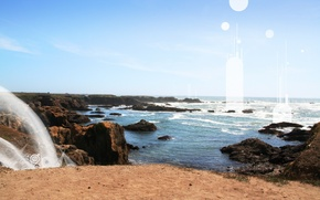 Wallpaper sea, rock, wave, the sun, sand