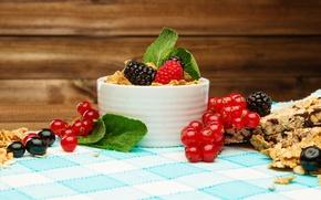 Picture berries, Breakfast, honey, fresh, currants, BlackBerry, berries, breakfast, muesli