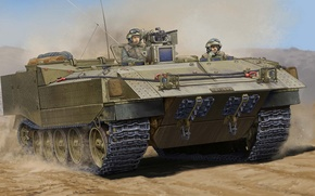Picture military, war, art, painting, Israel Heavy Armoured Personnel Carrier Achzarit