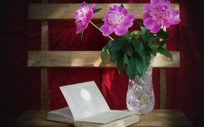 Picture silk, crystal, book, vase, pink, peonies, red