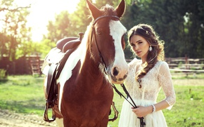 Picture Girl, Horse, Dress, Brown hair, Animals