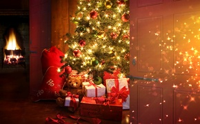 Wallpaper balls, decoration, lights, style, room, holiday, toys, Christmas, interior, gifts, New year, tree, fireplace, curtains, ...
