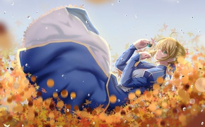 Picture girl, saber, fate stay night, anime, art