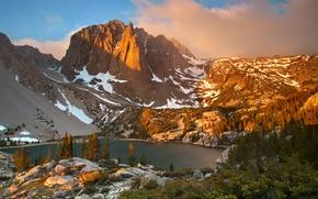 Picture snow, trees, mountains, lake, Spain, Sierra Nevada, Big Pine Canyon