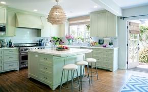 Picture flowers, kitchen, mansion, Design, cabinets, Interior, Kitchen