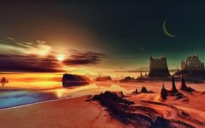 Wallpaper rendering, The moon, shore, sand, sea, rendering, rocks, space, sky, space, sea, Lightdrop, Tel aran ...