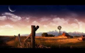 Picture machine, mountains, house, farm