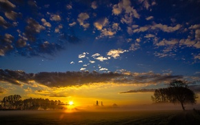 Picture field, the sky, landscape, nature, fog, morning