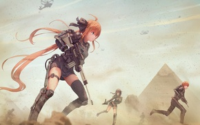 Picture sand, weapons, girls, war, dust, guy, anime, art