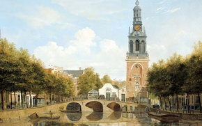 Picture picture, the urban landscape, Skinny Bridge, Mint Tower in Amsterdam, Hendrik Gerrit ten cate