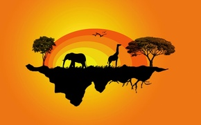 Wallpaper vector, Africa, yellow, island, trees