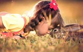 Picture hare, rabbit, friendship, girl