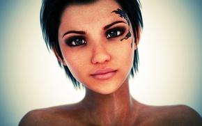 Wallpaper hair, eyes, face, tattoo, girl, rendering, look