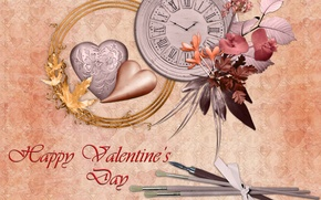Picture flowers, Valentin, postcard, watch, heart, love, lovers, leaves, the volume