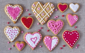 Picture holiday, cookies, hearts, love, cakes, hearts, valentines, glaze, cookies, Valentines, glaze