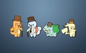 Picture minimalism, Pikachu, pokemon, charmander, bulbasaur, squirtel