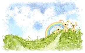 Picture greens, clouds, figure, rainbow, hill, rabbits, Kawai, heart, bunnies
