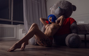 Wallpaper chest, girl, blue, pose, naked, makeup, figure, bear, tattoo, hairstyle, bear, legs, sitting, plush, wig, ...