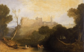 Wallpaper trees, landscape, river, castle, mountain, picture, Scotland, William Turner, Linlithgow Palace