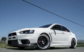 Picture white, wheels, black, mitsubishi, lancer, evolution