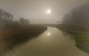 Picture grass, the sun, trees, fog, reflection, river