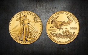 Picture liberty, dollar, Gold, coin, United States of America