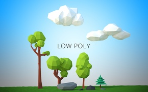 Picture trees, landscape, geometry, lowpoly, lowpoly