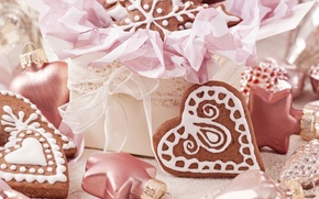 Picture snowflakes, heart, toys, food, heart, cookies, hearts, sweets, Christmas, dessert, cakes, holidays, New Year, glaze, …