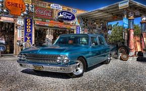 Picture retro, Ford, dressing, Galaxie, car, classic, gas station, service, 1961
