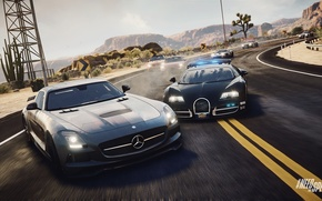 Picture Bugatti Veyron, ghost, Need for Speed, nfs, police, mercedes sls, 2013, pursuit, Rivals, NFSR