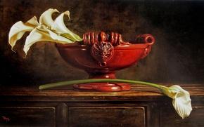 Picture flowers, table, figure, picture, vase, reproduction, Calla lilies, Kyle, Polzin