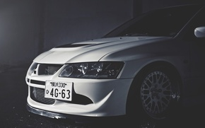 Picture White, Mitsubishi, Lancer, Car, White, Lancer, Mitsubishi, Evolution 9