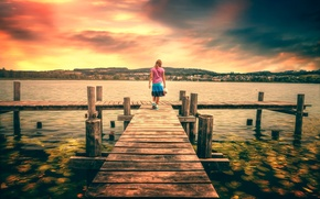 Picture girl, lake, view, treatment, pier