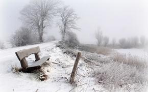 Wallpaper winter, snow, fog, bench