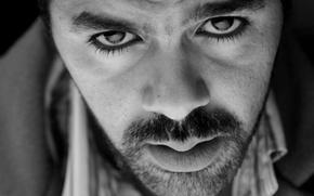 Wallpaper Actor, black and white, Eyes, Look, Face, Jamel Debbouze, Beard, Jamel Debbouze
