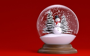Picture snowman, New Year, snow, snow, globe, New Year, tree, ball, Cristmas, Christmas, winter