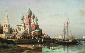 Picture oil, Canvas, 1863, Religious procession in Yaroslavl, Alexey BOGOLYUBOV, (1824-1896)