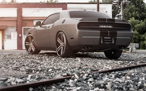 Picture Auto, Trees, Tuning, Machine, Dodge, Challenger, Rails, Crushed stone, Traffic light