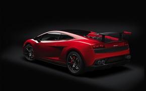 Picture red, Lamborghini, supercar, spoiler, Gallardo, twilight, rear view, Lamborghini, Gallardo, wing, Super Trofeo Stradale, super …
