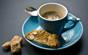 Picture coffee, food, cookies, almonds, a Cup of coffee, esperesso