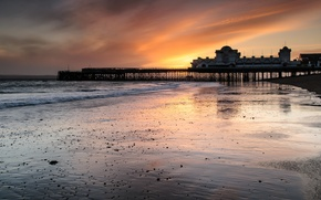 Picture sea, the sky, clouds, sunset, Strait, shore, England, the evening, pierce, UK