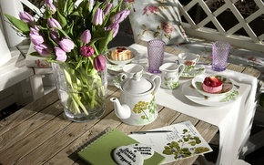 Picture tea, Breakfast, Cup, tulips, dishes, vase, cupcakes