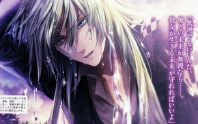 Picture look, drops, wet, characters, blue eyes, long hair, amnesia, ukyo, by mai hanamura