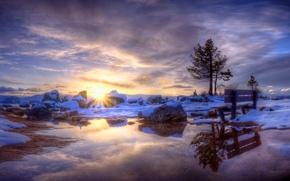 Wallpaper winter, the sun, snow, shop, source