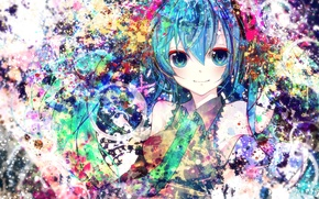 Picture girl, smile, colorful, art, tie, vocaloid, hatsune miku, Vocaloid, sazanami shione